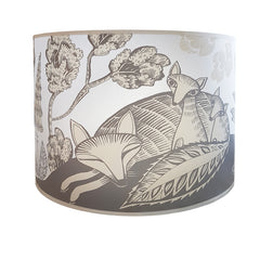 Lush Designs large lampshade with print of sleeping fox and cubs in pale neutral colours