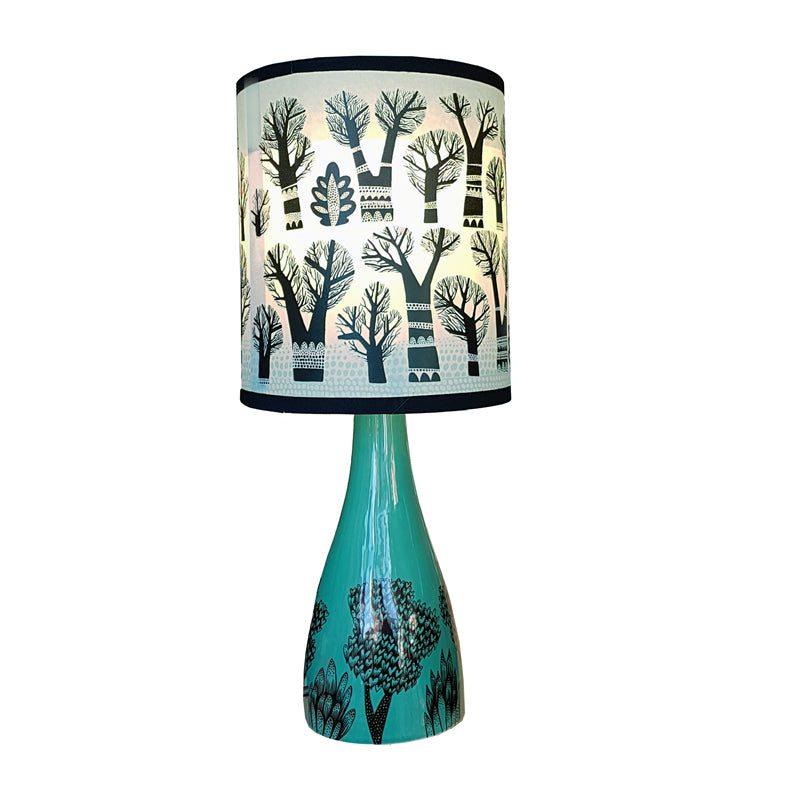 ... Lush Designs Linden Lamp Base In Jade With Black Print Shown With  Winter Trees Lamp Shade