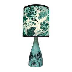 Lush designs turquoise ceramic lamp base with floral shade