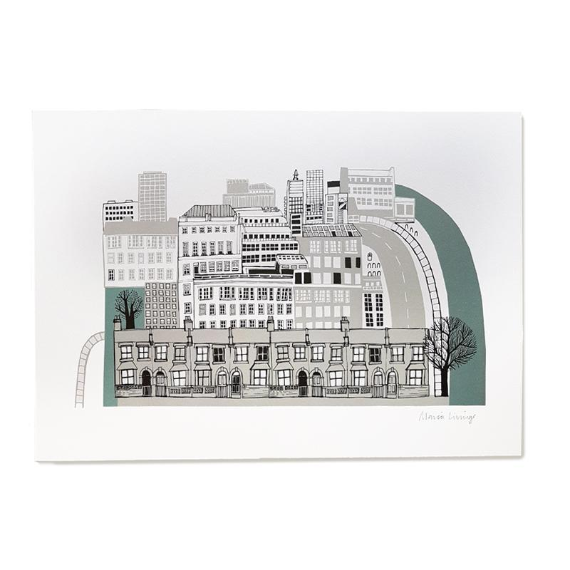 Lush Designs print of the city, buildings old and modern and a river
