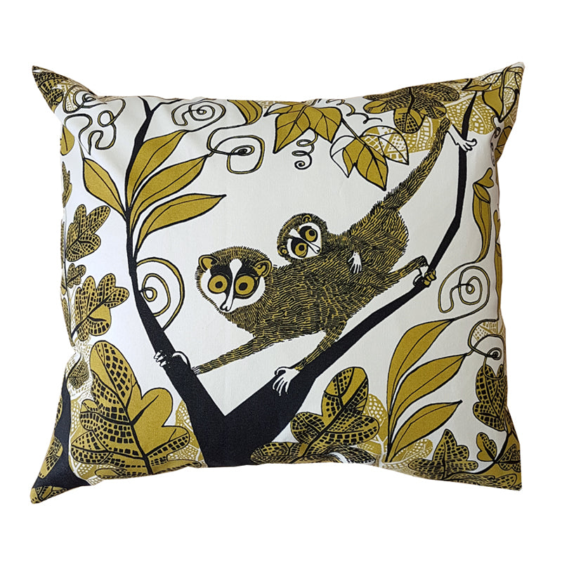 Lush Designs cushion with print of slender lorises in the jungle