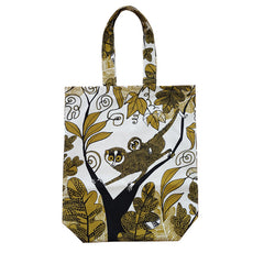 Lush Designs cotton shopping bag with print of slender lorises in olive green and black