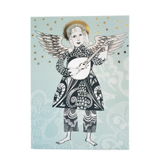 Christmas card with lute-playing angel
