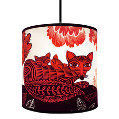 Lush Designs fox and cubs print shade in red and black