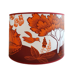 Lush Designs lampshade with print of woodland scene and flowers with small bird in orange and plum colour