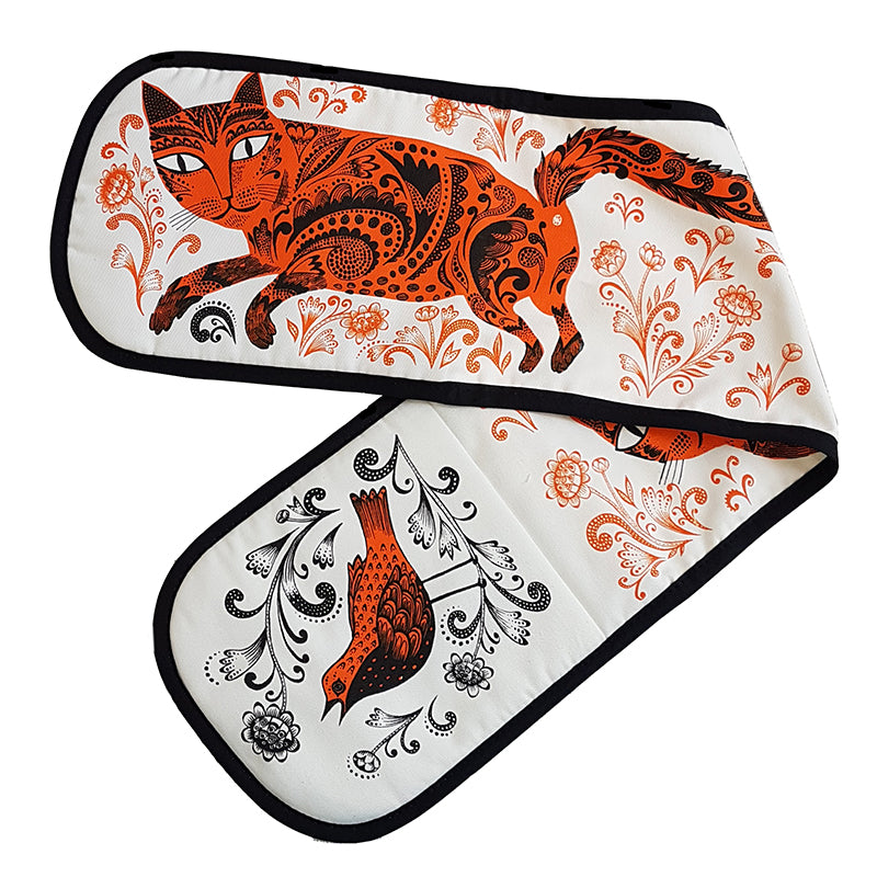 Lush Designs double oven mit with orange and black print of patterned cat, flowers and bird