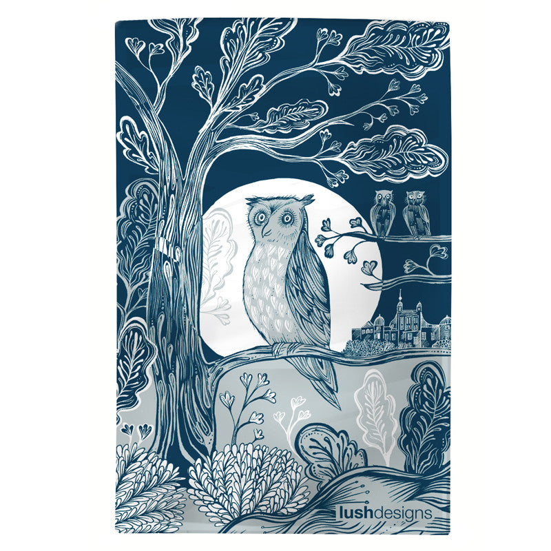 Lush Designs tea towel with Owl design in shades of blue