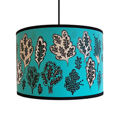 Lush Designs Turquoise printed shade with oak trees and leaves