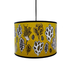 Lush Designs lampshade in mustard yellow with small tree and oak leaf print
