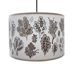 Pale grey lampshade with pale grey leafy print