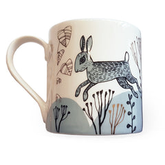 Lush designs rabbit design mug printed in light blue black and gold