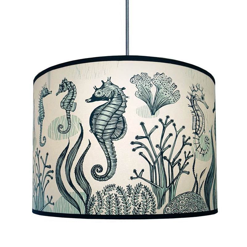 Lampshade with print of seahorses in shades of blue