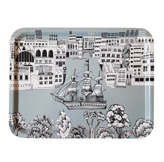 Lush Designs melamine-faced birch ply tray with picture of tall ship in full sail on the thames