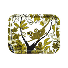 Lush Designs melamine-faced birch-ply tray printed with a design of small, big-eyed Lorises in a forest setting