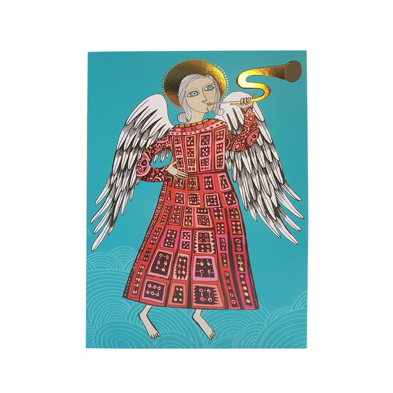 Christmas card with picture of trumpet-playing angel in patterned red dress on turquoise background.  Decorated with gold foil.