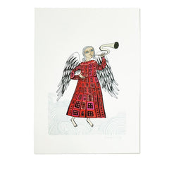 Art-print on textured paper of trumpet-playing angel in red dress
