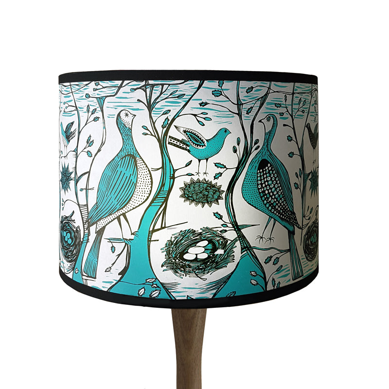 Lush Designs lampshade printed with birds in a woodland setting in turquoise and black