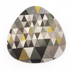 Lush Designs cork-backed heat-resistant trivet with print of triangles in grey black and yellow