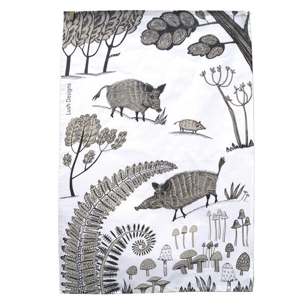 Wild boar tea towel