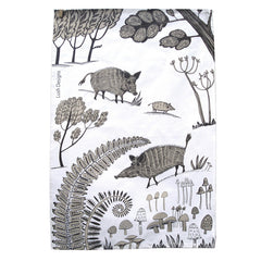 Lush Designs tea towel with Wild Boars, ferns and mushrooms printed in brown and black on white