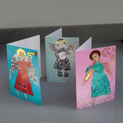 Lush Designs colourful, gold-embellished christmas cards featuring angels playing musical instruments