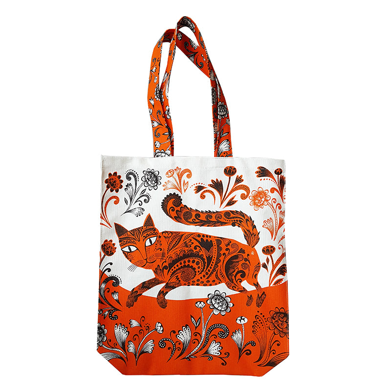 Lush Designs tote bag with long floral straps and print of orange patterned cat