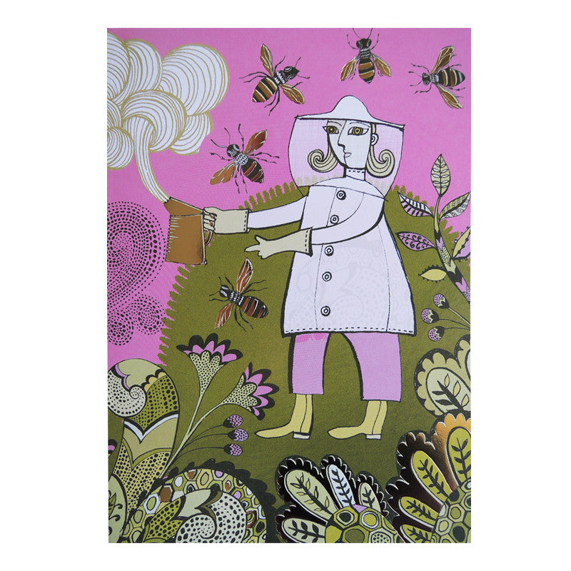 Lush Designs, gold-foil decorated card with beekeeper, bees and flower design in pink and green