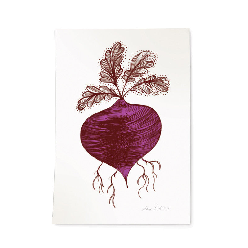 Lush Designs print on heavy textured paper of a beetroot