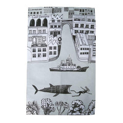 Lush designs tea towel with drawing of city and river with big fish chasing a scuba diver