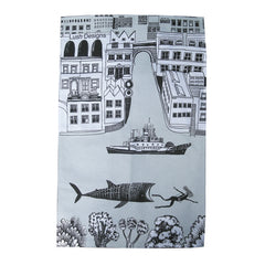 Lush Designs London and the Thames on a tea towel in light grey and black on white with illustration of whale shark chasing a swimmer in the water!