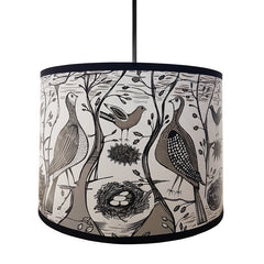 Lush Designs lampshade with print of birds and nests with eggs in woodland setting in black and grey on white