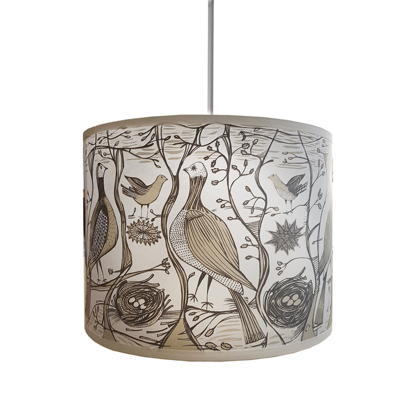 Lush Designs lampshade printed with birds in a woodland setting in neutral colours