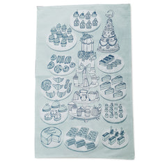 Pale duck-egg blue tea towel with print of many dainty cakes on plates and cake-stand