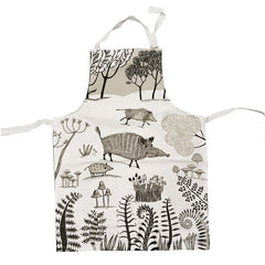 Lush Designs Wild Boar print apron in white with beige and black print of wild boar, piglets and mushrooms