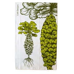 Lush Designs cotton tea towel with print of brussels sprouts in the branch in bright green