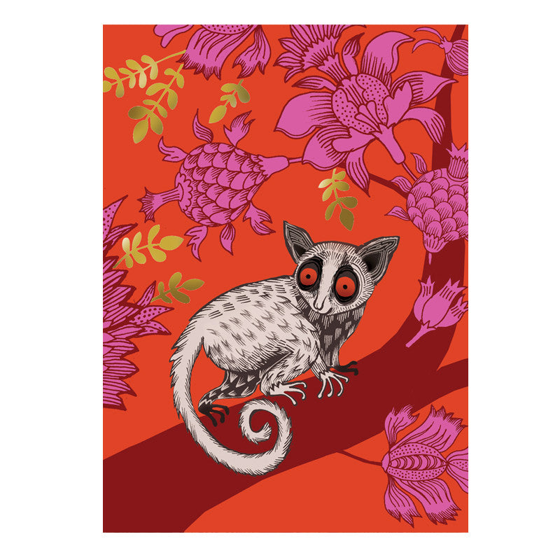 Lush designs Brightly coloured, gold decorated bushbaby print card
