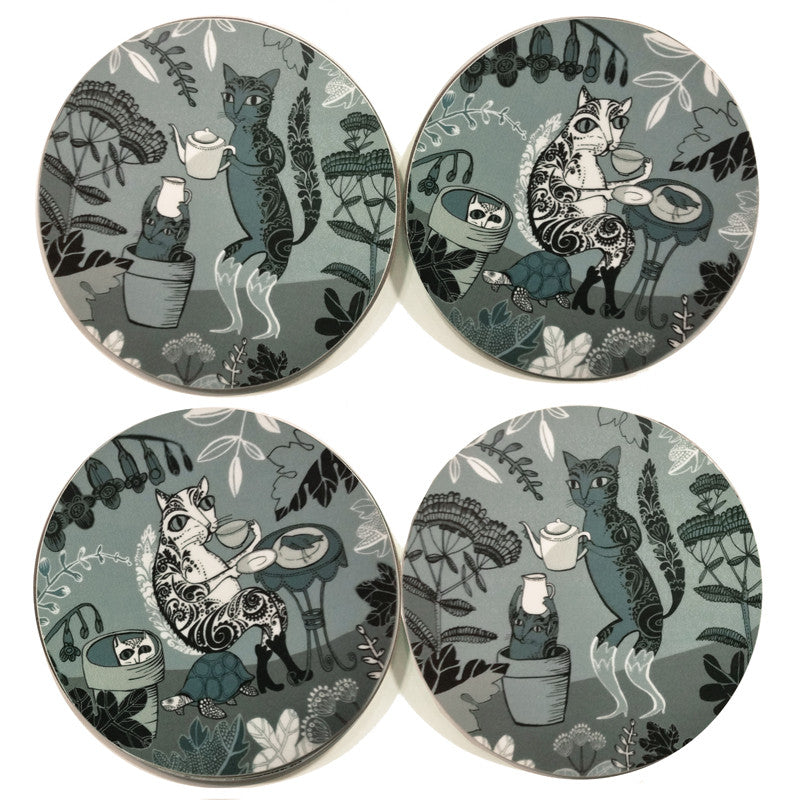 Four Lush Designs cat design teal and grey melamine coasters with cork back