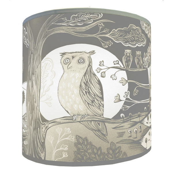 Owl lampshade grey