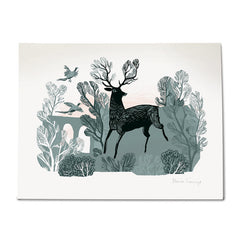 Lush Designs print on textured heavy paper of stag in countryside with viaduct and flying pheasants