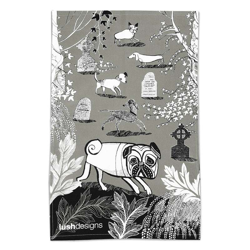 Grey dog print tea towel with pug, our Bedlington lurcher, Truffy and little Dotty