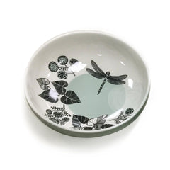 cream, eau-de-nil and black printed bowl with dragonfly picture