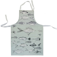 Lush Designs apron in pale green-grey with fish print