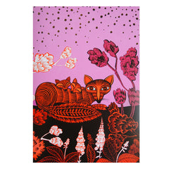 Fox abd cubs foil-decorated greetings card