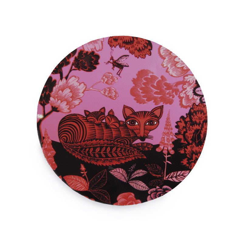 fox and cubs print melamine coasters in pink, black and red