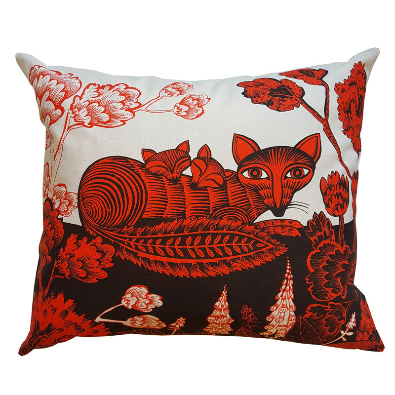 Lush Designs Cushion with print of fox, cubs trees and flowers in red and black on white