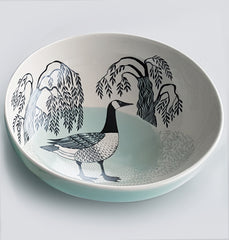 Lush Designs stoneware bowl with design of a Canada Goose and willow trees in black and pale green