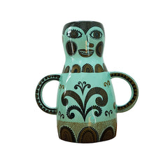 Lush Designs jade green lady shaped vase with handles for arms and