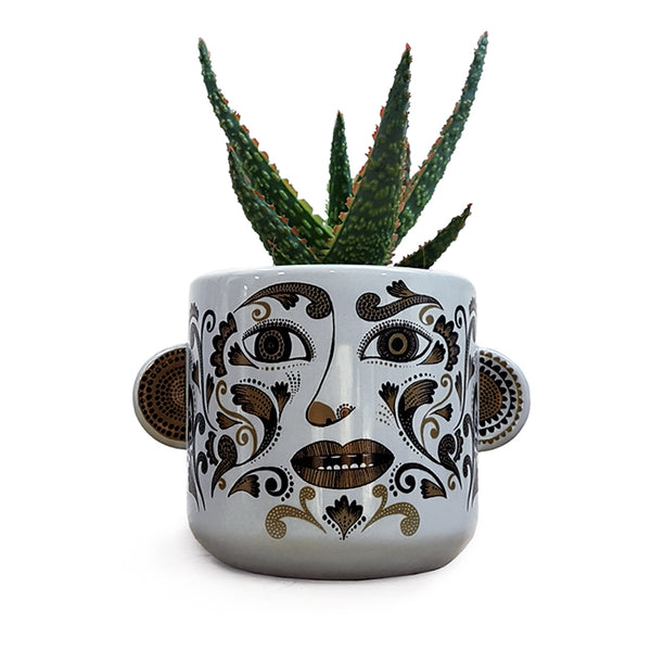 Clown plant pot (pale grey/tobacco)Droopy Moustache