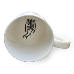 Lush Designs Hamlet mug inside view with skeleton print