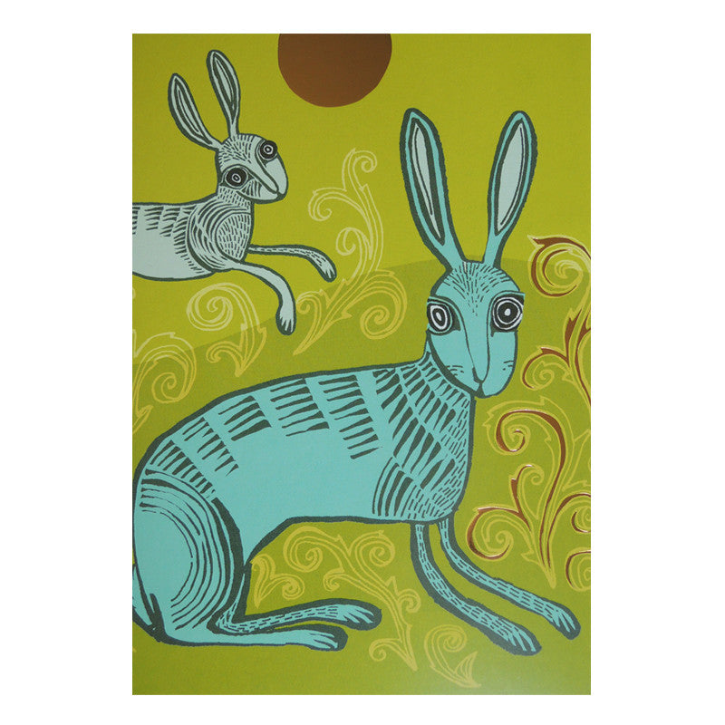 Lush designs Lime green and turquoise hare print card with gold detail